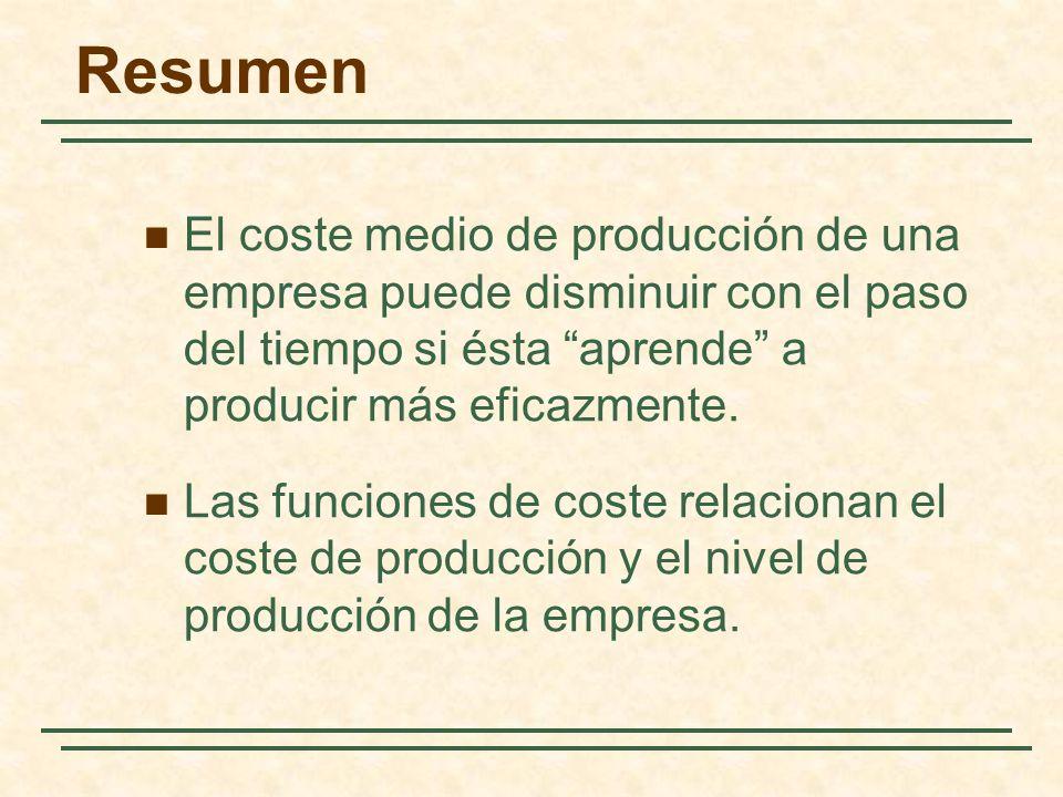 Resumen El coste medio de producción de una empresa puede disminuir con el paso del tiempo si ésta aprende a producir más eficazmente.