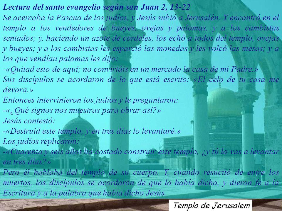 Lectura del santo evangelio según san Juan 2, 13-22