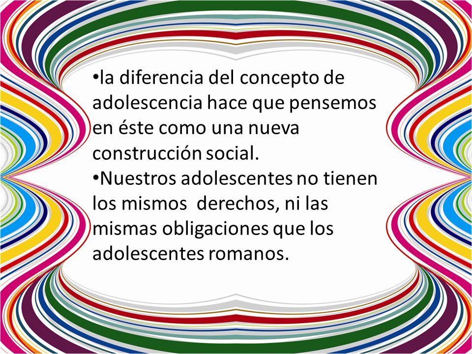 la diferencia del concepto de adolescencia hace que pensemos en éste como una nueva construcción social.