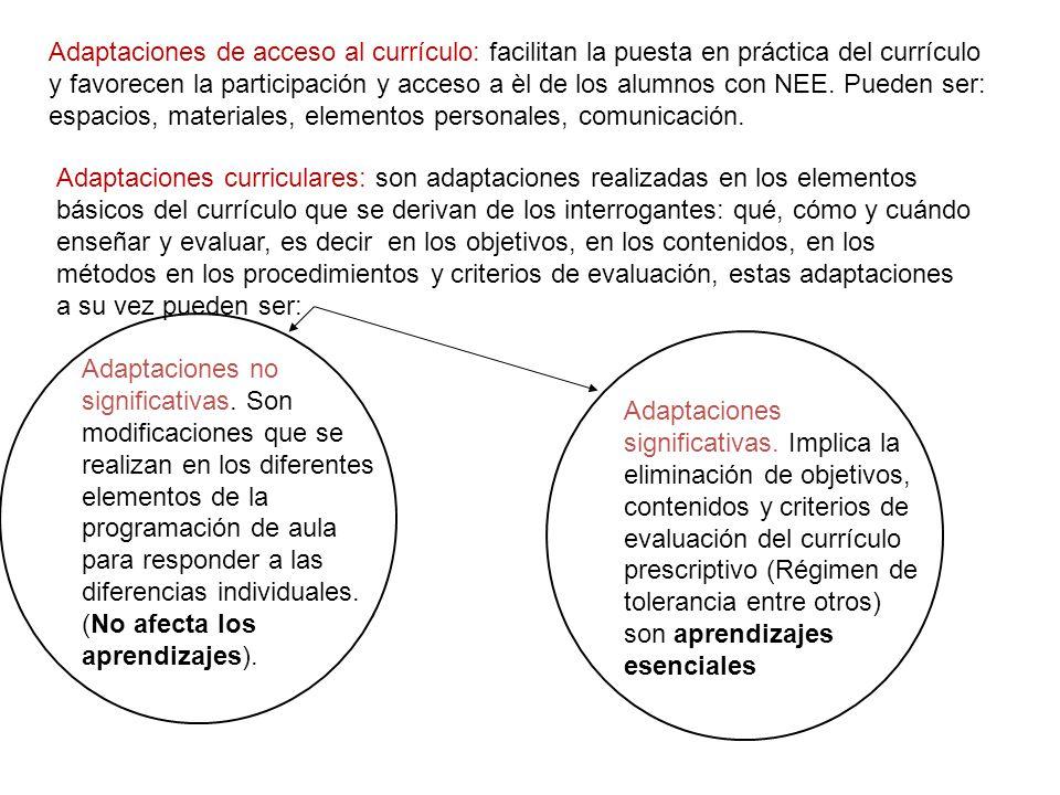 Adaptaciones de acceso al currículo: facilitan la puesta en práctica del currículo y favorecen la participación y acceso a èl de los alumnos con NEE. Pueden ser: espacios, materiales, elementos personales, comunicación.
