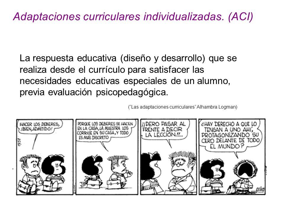 Adaptaciones curriculares individualizadas. (ACI)