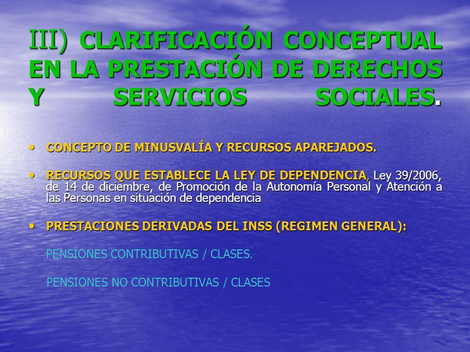 III) CLARIFICACIÓN CONCEPTUAL EN LA PRESTACIÓN DE DERECHOS Y SERVICIOS SOCIALES.