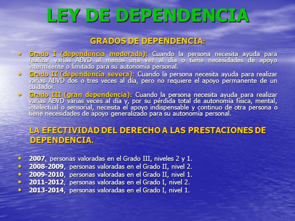 LEY DE DEPENDENCIA GRADOS DE DEPENDENCIA: