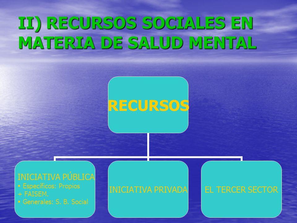 II) RECURSOS SOCIALES EN MATERIA DE SALUD MENTAL
