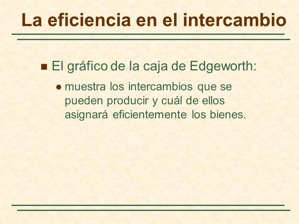 La eficiencia en el intercambio