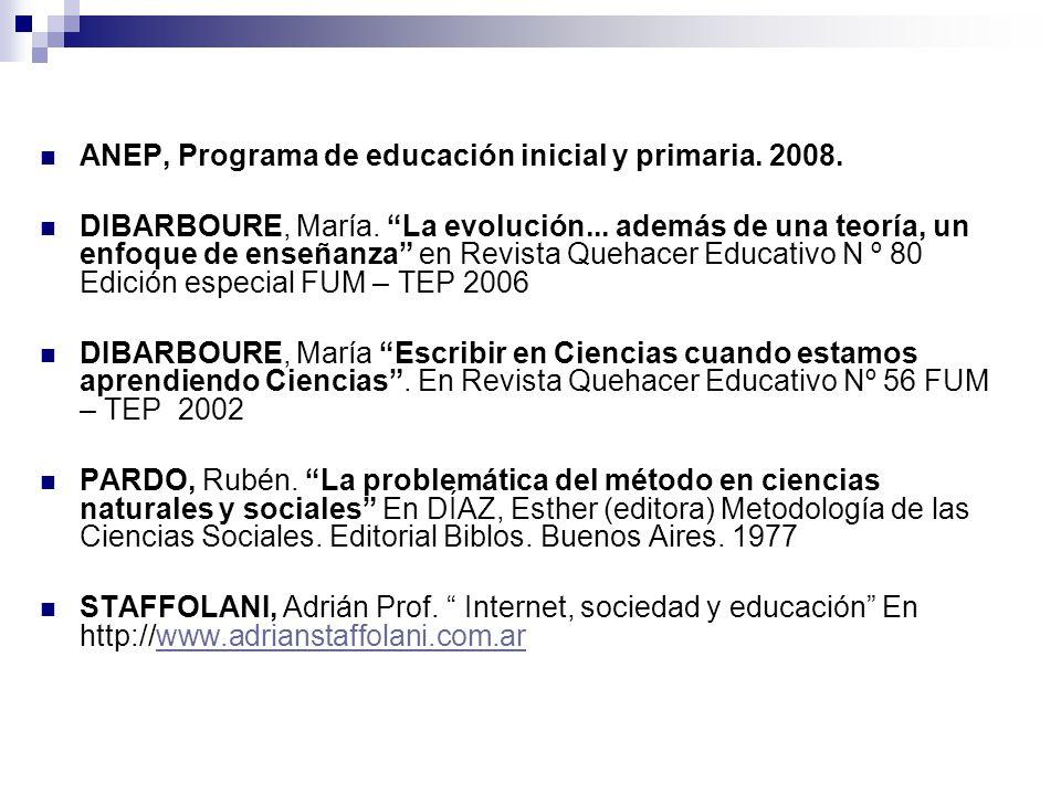 ANEP, Programa de educación inicial y primaria. 2008.