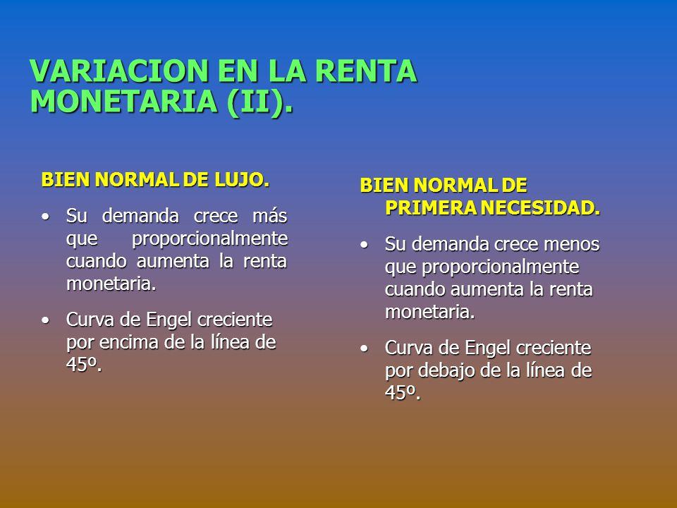 VARIACION EN LA RENTA MONETARIA (II).