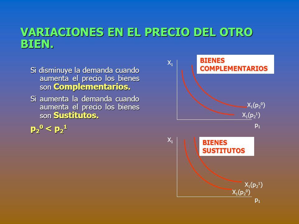 VARIACIONES EN EL PRECIO DEL OTRO BIEN.