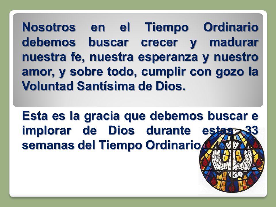 Nosotros en el Tiempo Ordinario debemos buscar crecer y madurar nuestra fe, nuestra esperanza y nuestro amor, y sobre todo, cumplir con gozo la Voluntad Santísima de Dios.