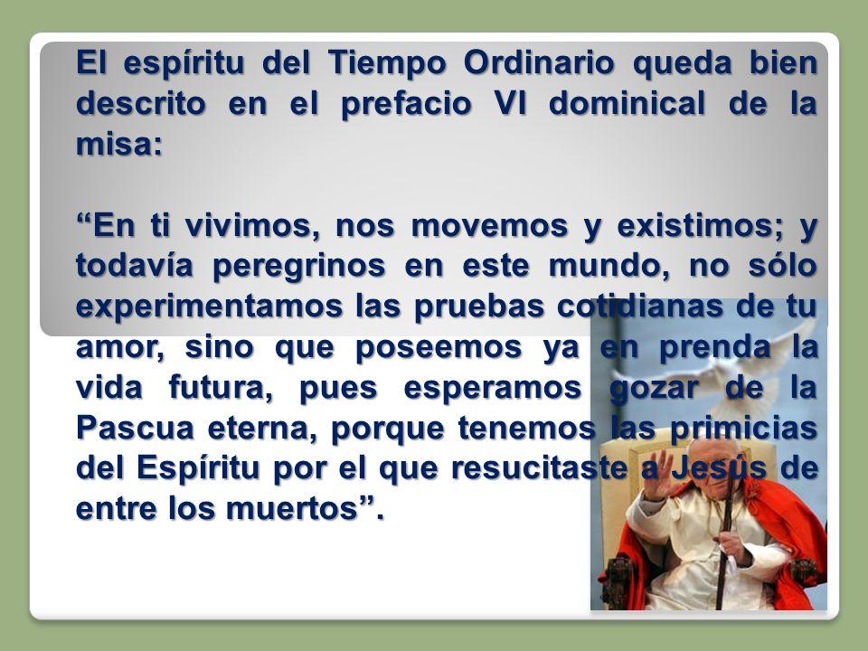 El espíritu del Tiempo Ordinario queda bien descrito en el prefacio VI dominical de la misa: