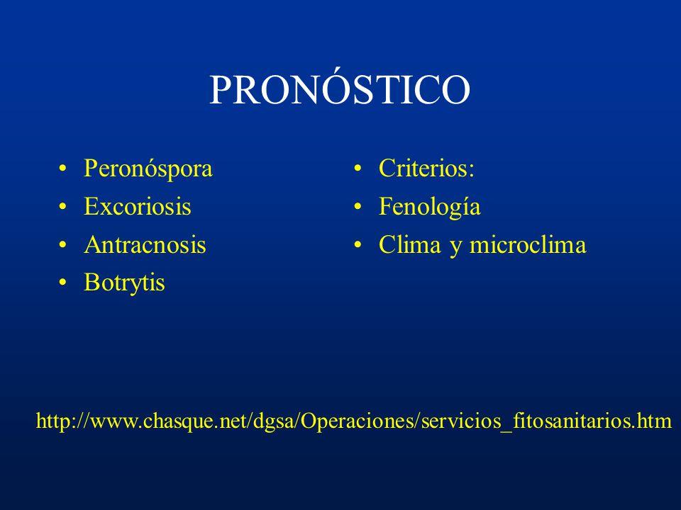 PRONÓSTICO Peronóspora Excoriosis Antracnosis Botrytis Criterios: