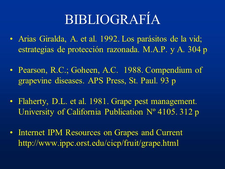 BIBLIOGRAFÍA Arias Giralda, A. et al. 1992. Los parásitos de la vid; estrategias de protección razonada. M.A.P. y A. 304 p.