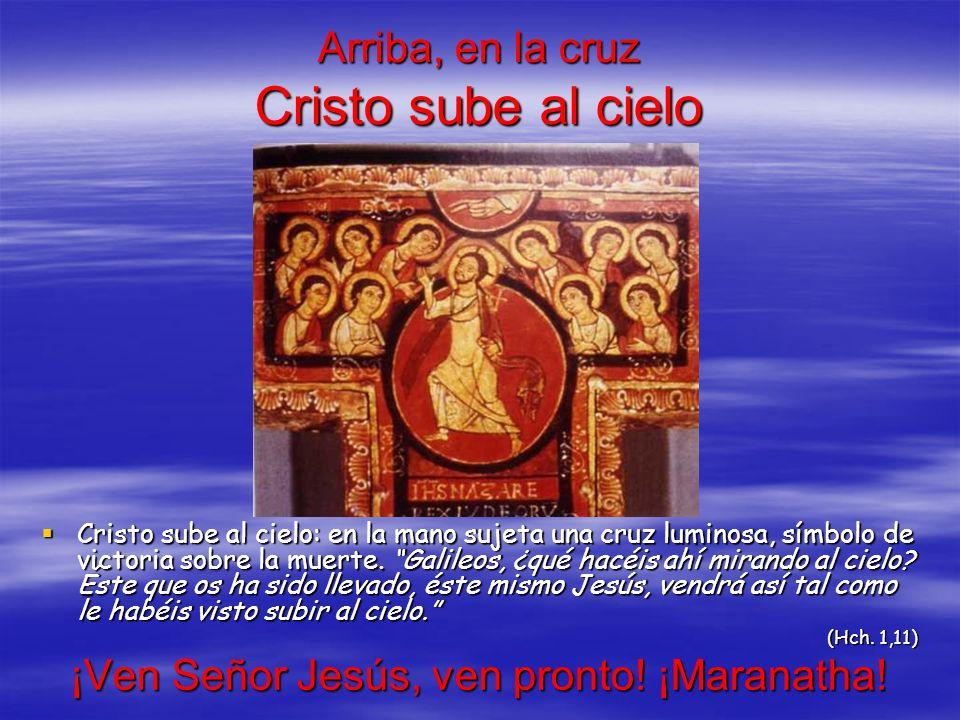 Arriba, en la cruz Cristo sube al cielo