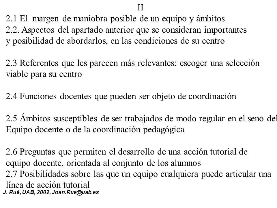 II 2.1 El margen de maniobra posible de un equipo y ámbitos. 2.2. Aspectos del apartado anterior que se consideran importantes.
