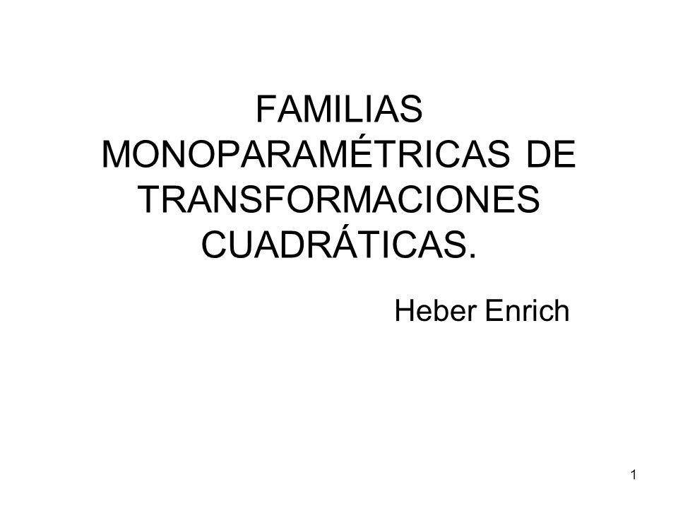 FAMILIAS MONOPARAMÉTRICAS DE TRANSFORMACIONES CUADRÁTICAS.
