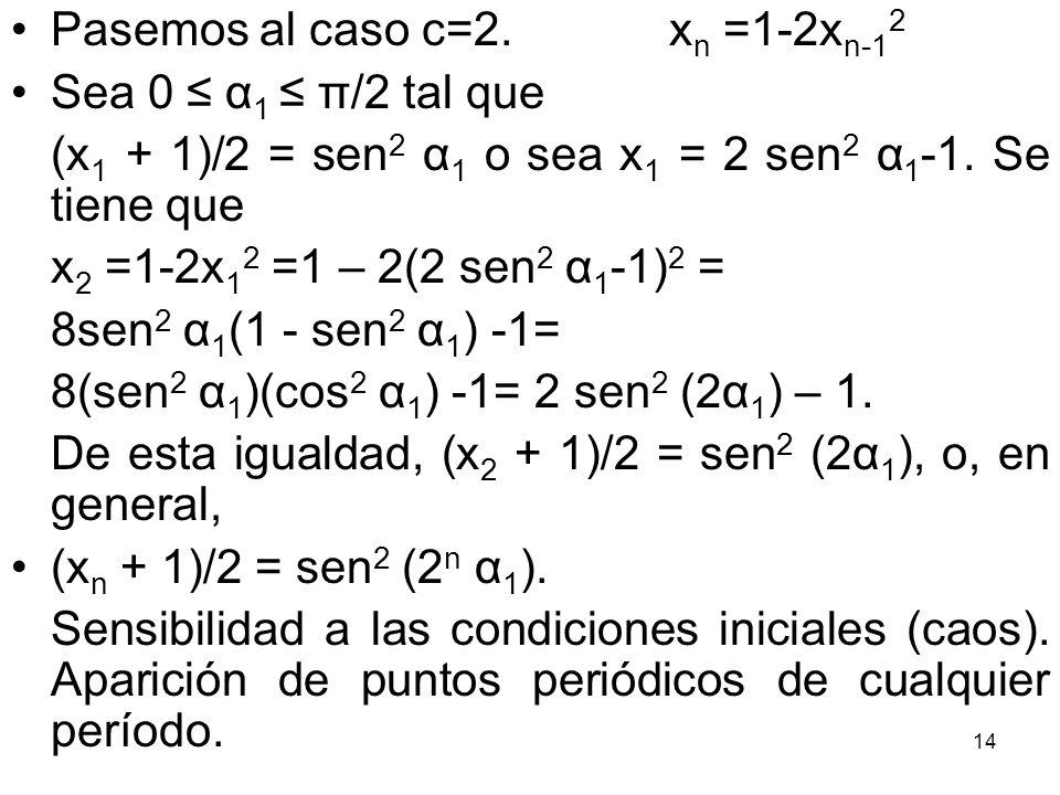 Pasemos al caso c=2. xn =1-2xn-12