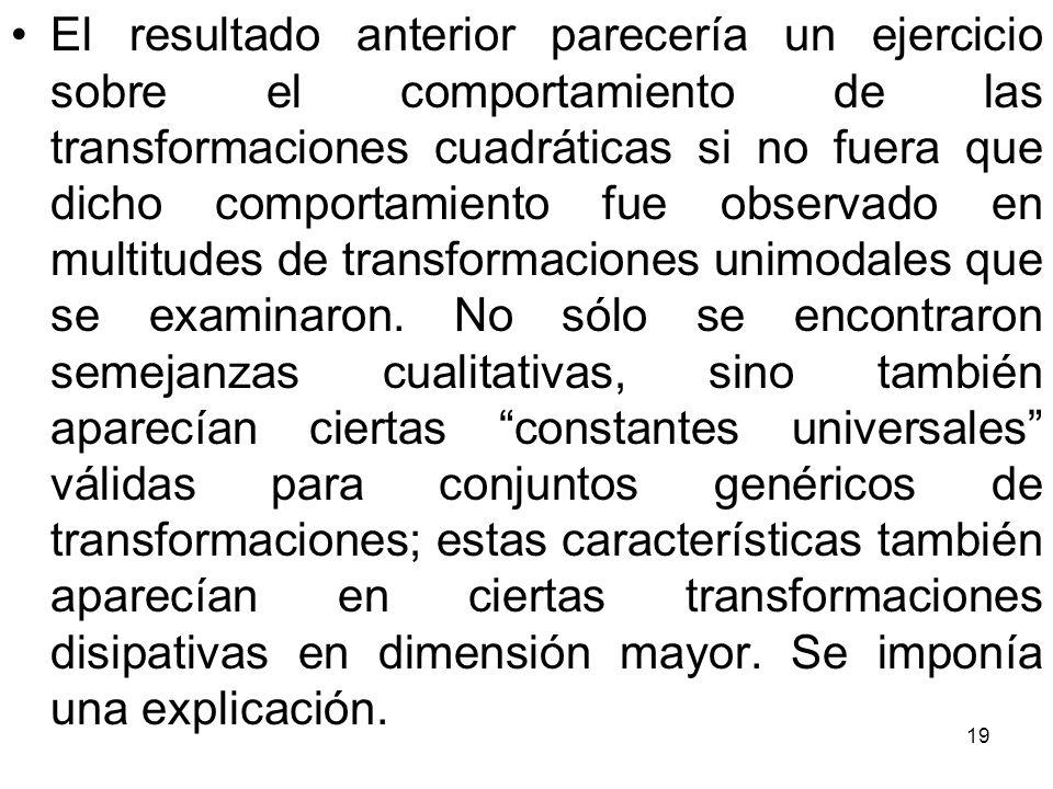 El resultado anterior parecería un ejercicio sobre el comportamiento de las transformaciones cuadráticas si no fuera que dicho comportamiento fue observado en multitudes de transformaciones unimodales que se examinaron.