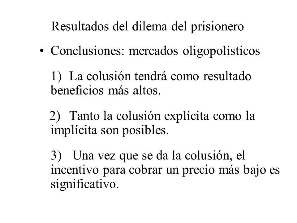 Resultados del dilema del prisionero