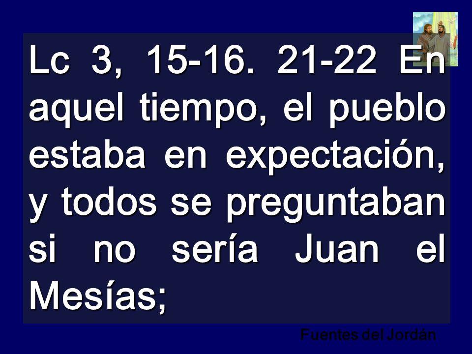 Lc 3, 15-16. 21-22 En aquel tiempo, el pueblo estaba en expectación, y todos se preguntaban si no sería Juan el Mesías;