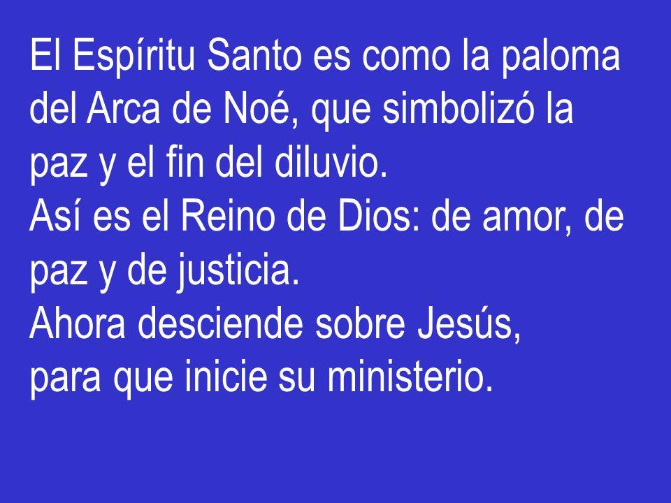 El Espíritu Santo es como la paloma del Arca de Noé, que simbolizó la paz y el fin del diluvio.