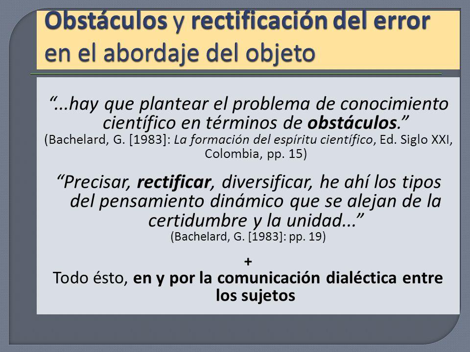 Obstáculos y rectificación del error en el abordaje del objeto