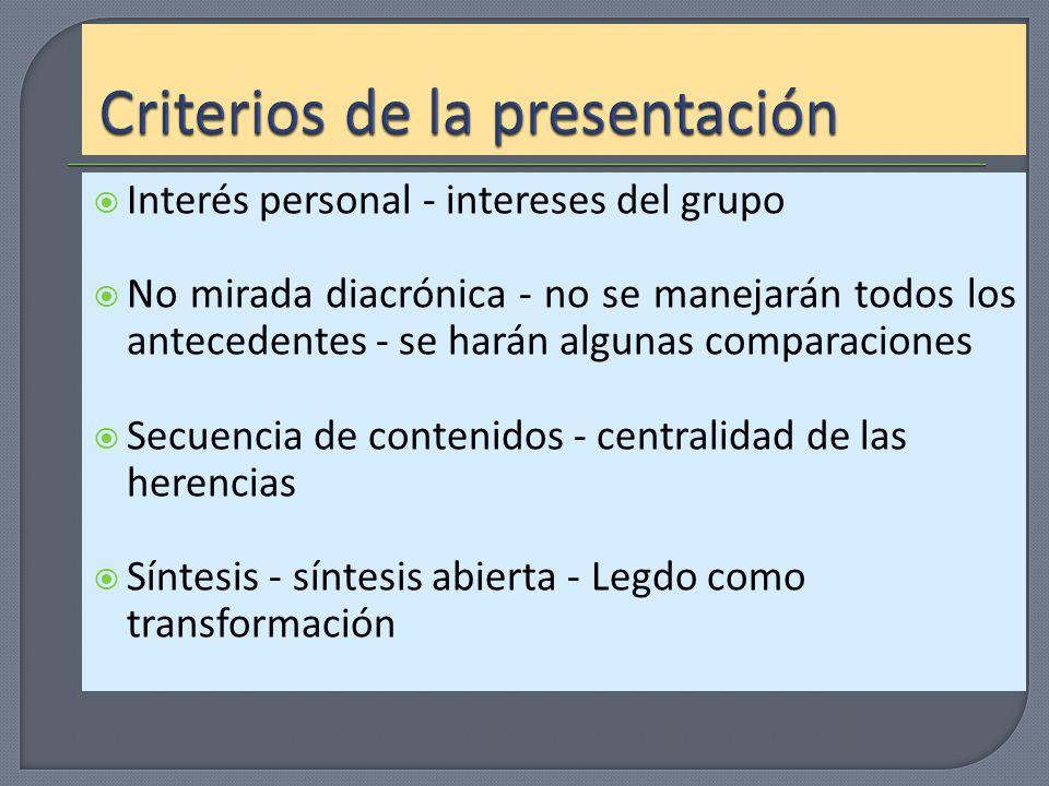 Criterios de la presentación