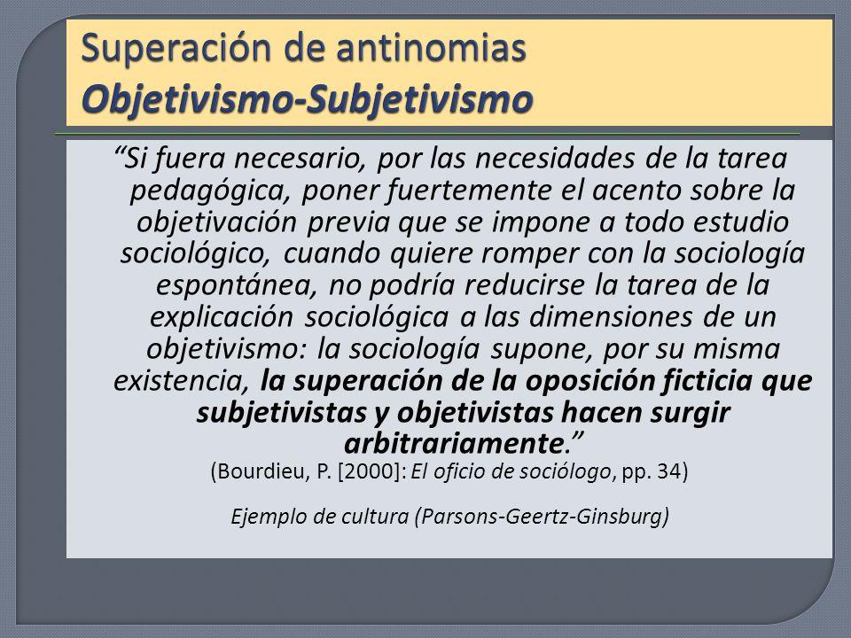 Superación de antinomias Objetivismo-Subjetivismo