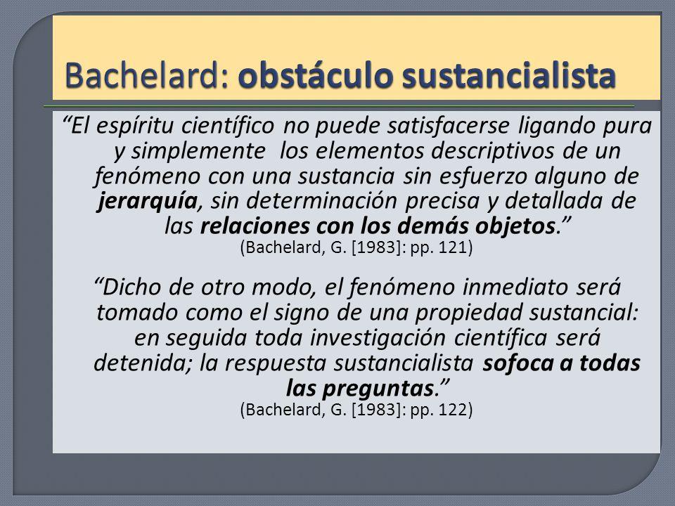 Bachelard: obstáculo sustancialista