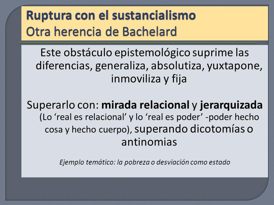 Ruptura con el sustancialismo Otra herencia de Bachelard