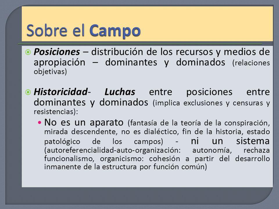 Sobre el Campo Posiciones – distribución de los recursos y medios de apropiación – dominantes y dominados (relaciones objetivas)