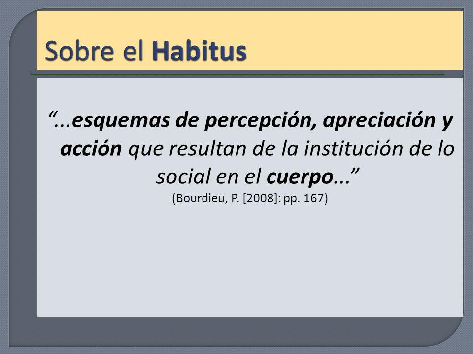 Sobre el Habitus ...esquemas de percepción, apreciación y acción que resultan de la institución de lo social en el cuerpo...