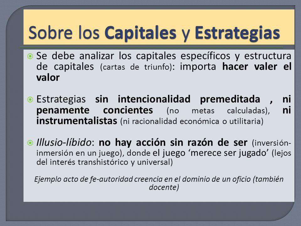 Sobre los Capitales y Estrategias