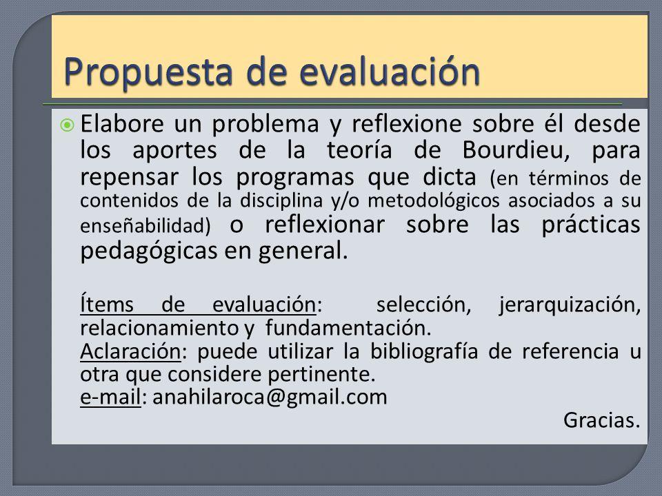 Propuesta de evaluación