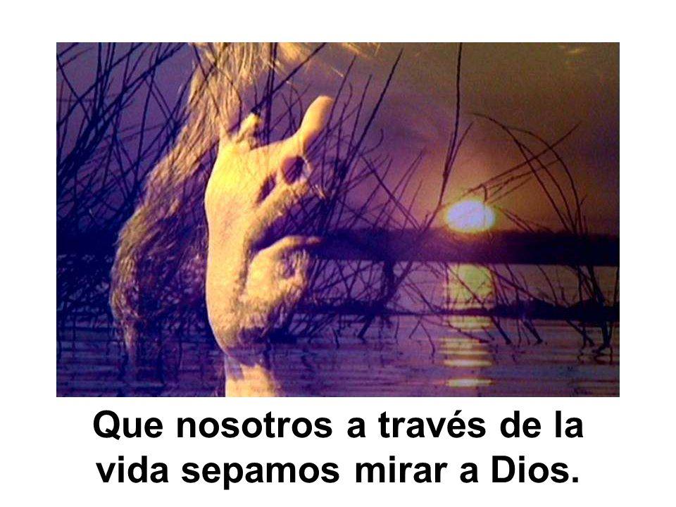 Que nosotros a través de la vida sepamos mirar a Dios.