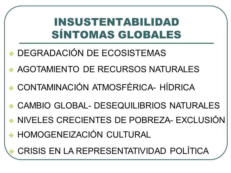 INSUSTENTABILIDAD SÍNTOMAS GLOBALES