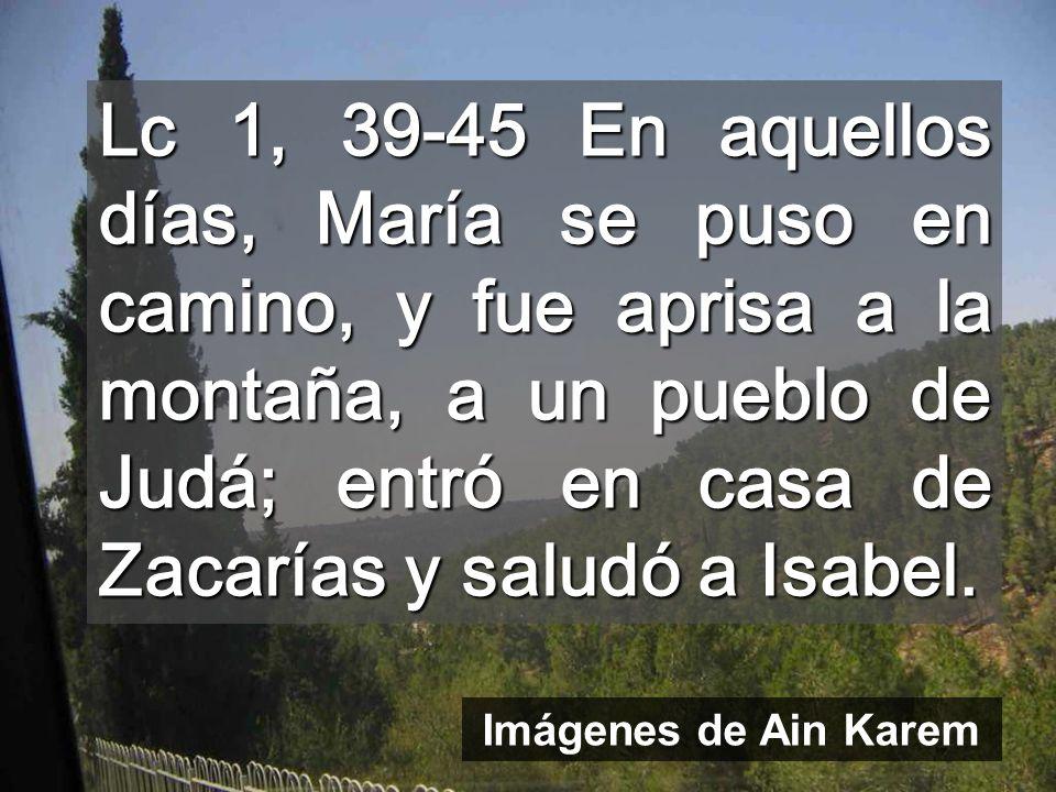 Lc 1, 39-45 En aquellos días, María se puso en camino, y fue aprisa a la montaña, a un pueblo de Judá; entró en casa de Zacarías y saludó a Isabel.