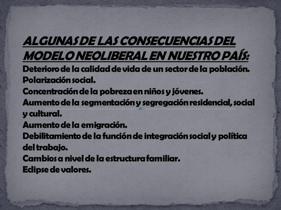 ALGUNAS DE LAS CONSECUENCIAS DEL MODELO NEOLIBERAL EN NUESTRO PAÍS: Deterioro de la calidad de vida de un sector de la población.