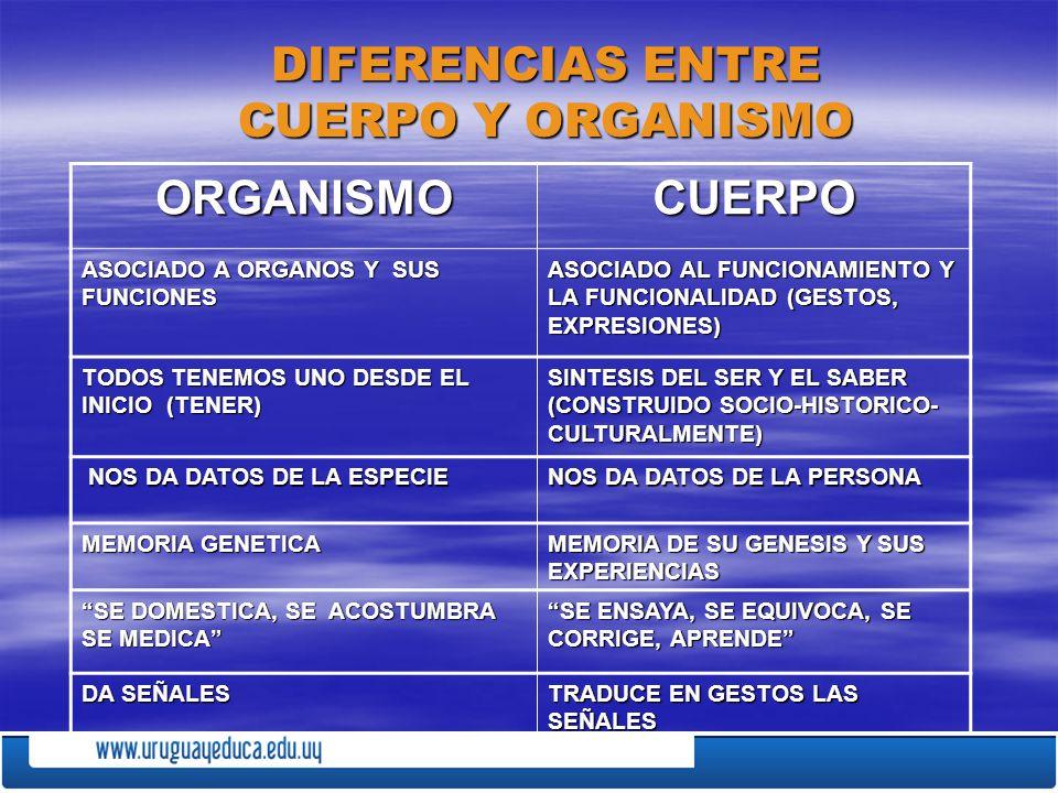 DIFERENCIAS ENTRE CUERPO Y ORGANISMO
