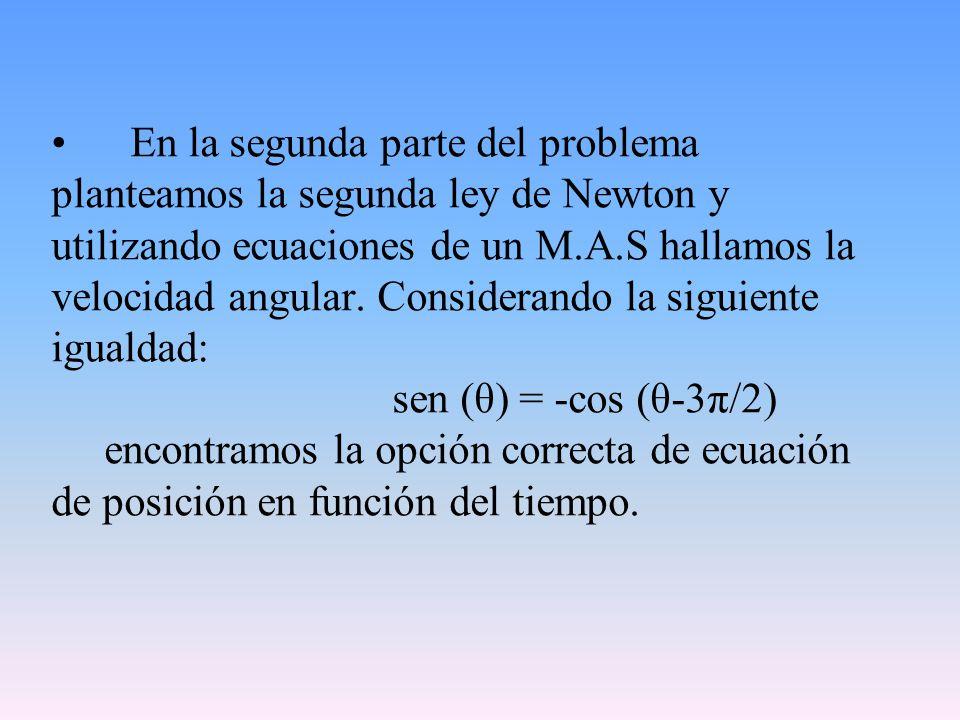 En la segunda parte del problema planteamos la segunda ley de Newton y utilizando ecuaciones de un M.A.S hallamos la velocidad angular.