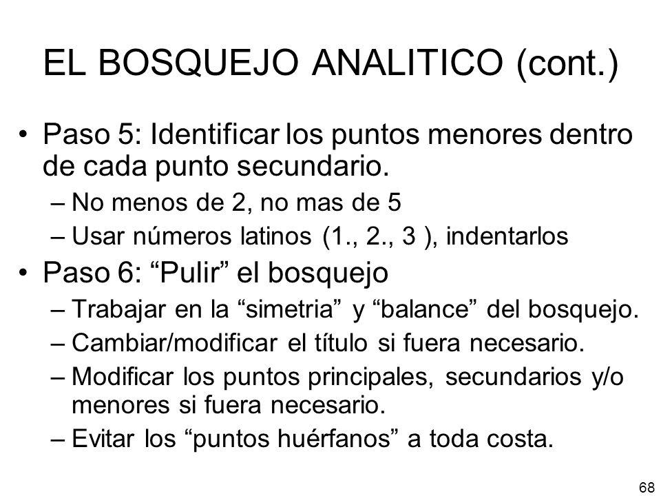 EL BOSQUEJO ANALITICO (cont.)