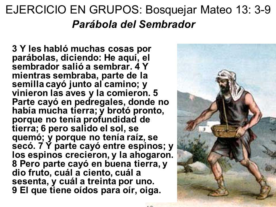 EJERCICIO EN GRUPOS: Bosquejar Mateo 13: 3-9