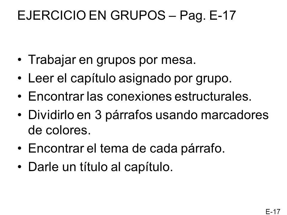 EJERCICIO EN GRUPOS – Pag. E-17