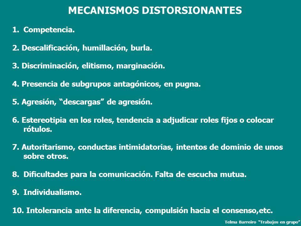 MECANISMOS DISTORSIONANTES Telma Barreiro Trabajos en grupo