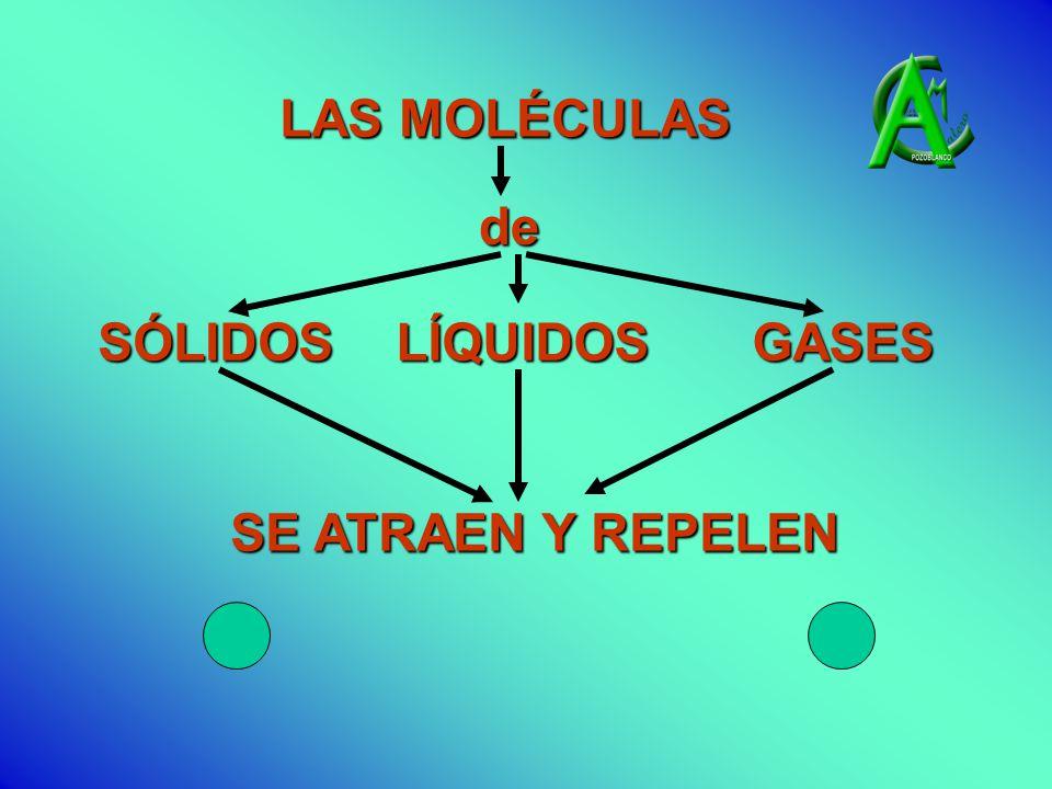 SE ATRAEN Y REPELEN LAS MOLÉCULAS de SÓLIDOS LÍQUIDOS GASES