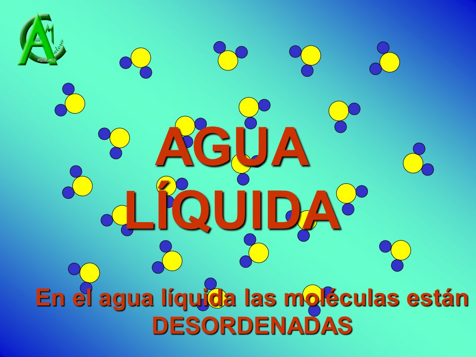 En el agua líquida las moléculas están DESORDENADAS