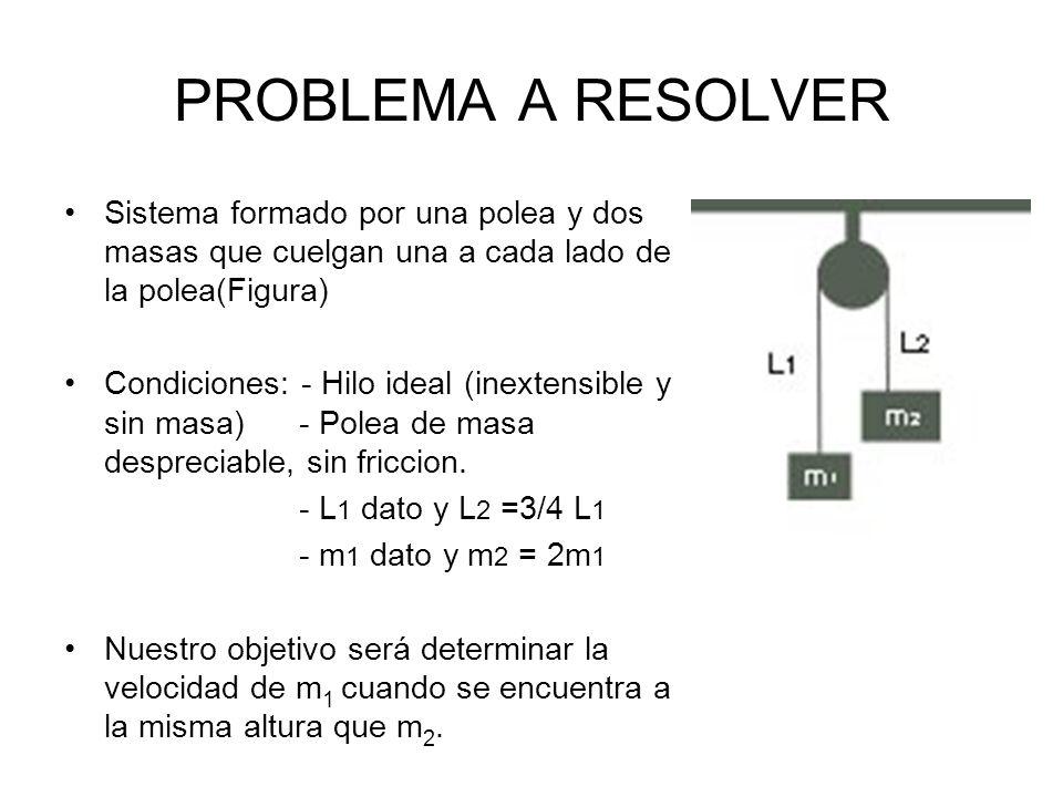 PROBLEMA A RESOLVER Sistema formado por una polea y dos masas que cuelgan una a cada lado de la polea(Figura)