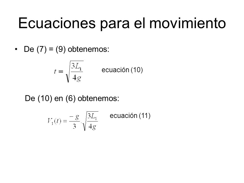Ecuaciones para el movimiento