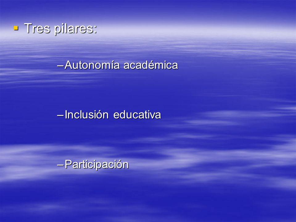 Tres pilares: Autonomía académica Inclusión educativa Participación