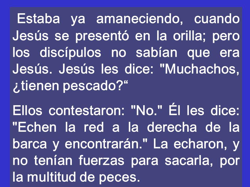 Estaba ya amaneciendo, cuando Jesús se presentó en la orilla; pero los discípulos no sabían que era Jesús. Jesús les dice: Muchachos, ¿tienen pescado