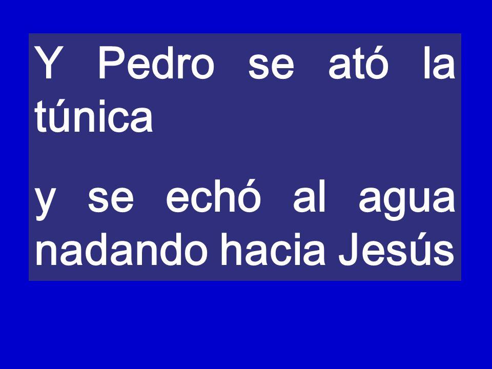 Y Pedro se ató la túnica y se echó al agua nadando hacia Jesús